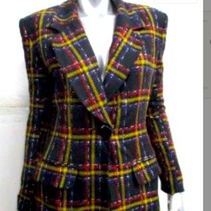 Vintage tahari blazer plaid medium black red M